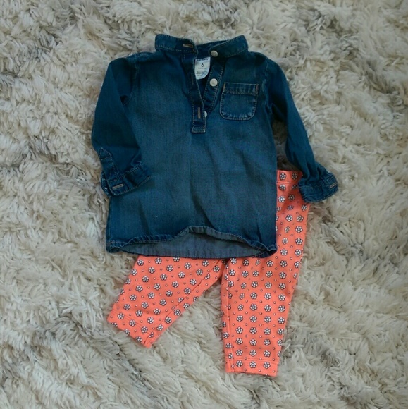 dd9820f7cd Carter's Chambray Top and Floral Leggings Set 6 Mo